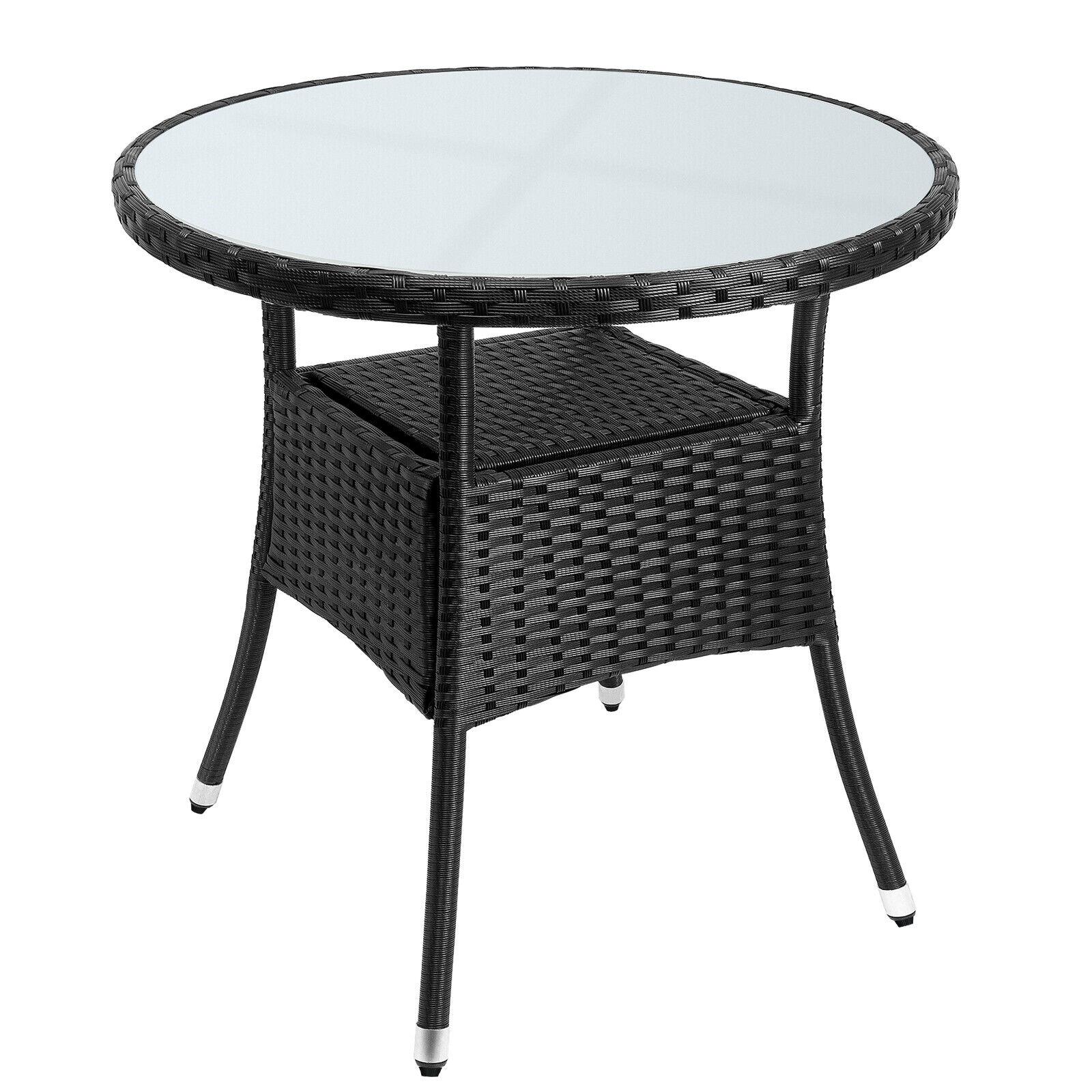 Poly Rattan Balkontisch Beistelltisch Gartentisch Gartenmöbel Rund 80 cm Schwarz