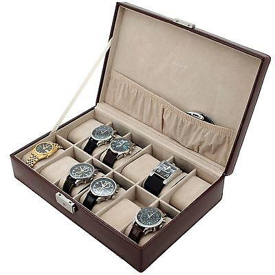 12 Watch Box Brown Leather Croco Grain with lock TS2890BRN