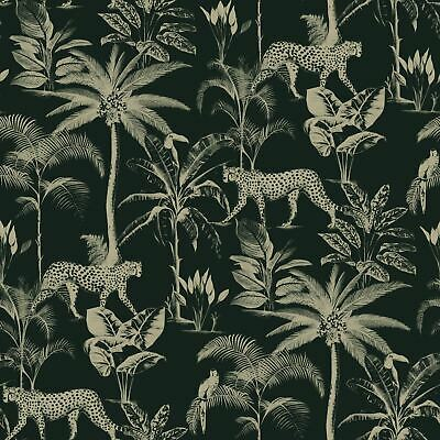 Savannah Cheetah / Leopard Wallpaper Metallic Black / Gold Rasch 409031