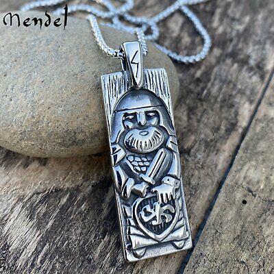MENDEL Mens Stainless Steel Nordic Viking Odin Rune Pendant Necklace Chain Men
