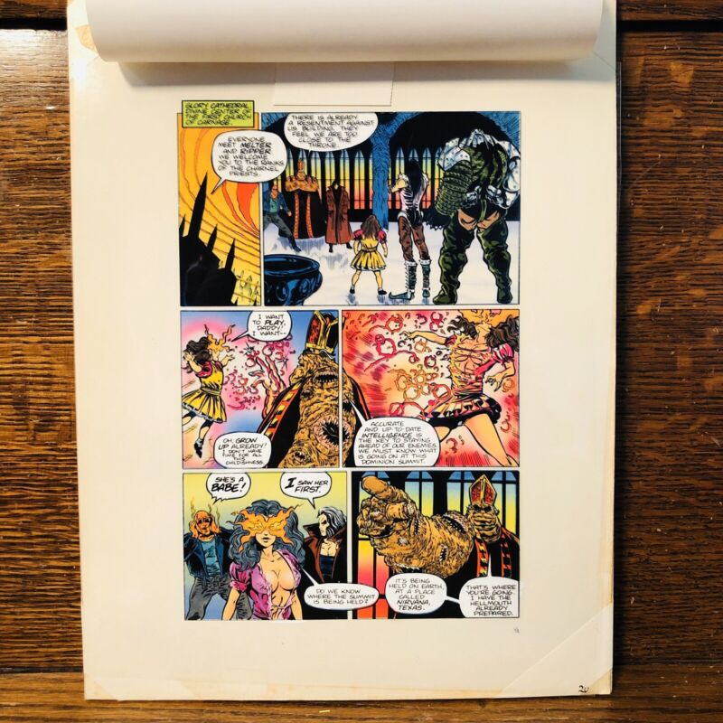 OBLIVION PAGE 14 COMICO HAND-PAINTED COLOR w overlay ELEMENTALS spinoff RARE art