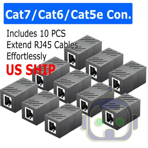 10x RJ45 Coupler IN-line Coupler Cat7 Cat6 Cat5e Ethernet Cable Extender Adapter