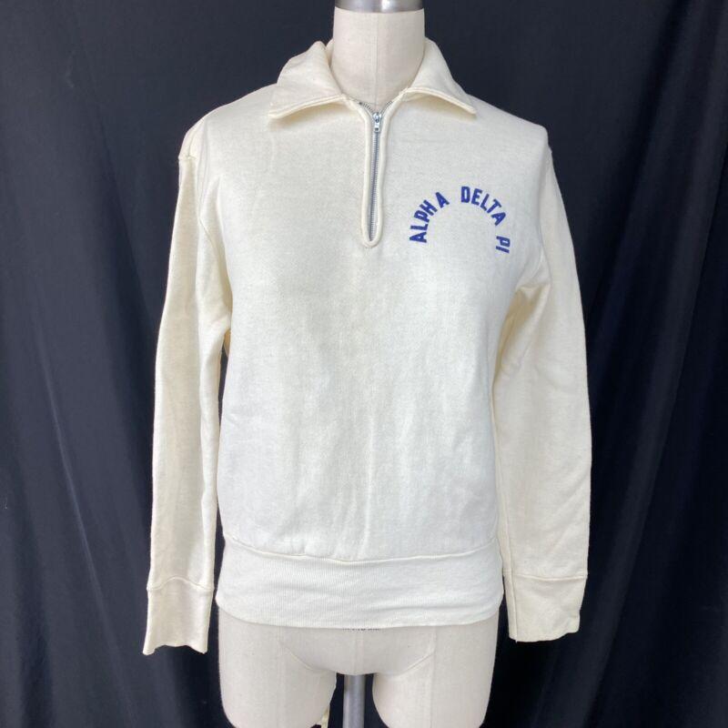 Vintage 1950s Alpha Delta Pi Sweatshirt Quarter Zip Sorority 50s Fraternal ADPi