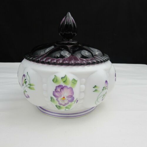 Fenton Milk Glass Pansies Hand Painted Beaded Melon Covered Box LE 1996 C2529