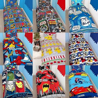 BOYS CHARACTER SINGLE QUILT DUVET COVER AND PILLOWCASE BEDDING SETS KIDS GIFT