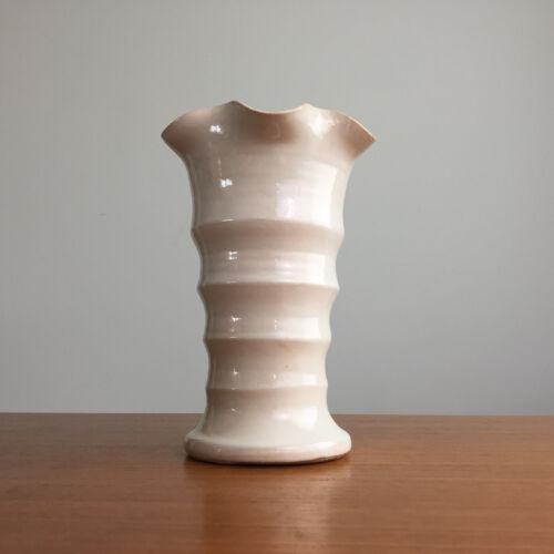 "Bauer Pottery Matt Carlton White Ribbed Ruffled Rim 8"" Vase California Pottery"