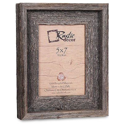 """5x7-2"""" Wide Signature Reclaimed Rustic Barn Wood Picture Frame"""