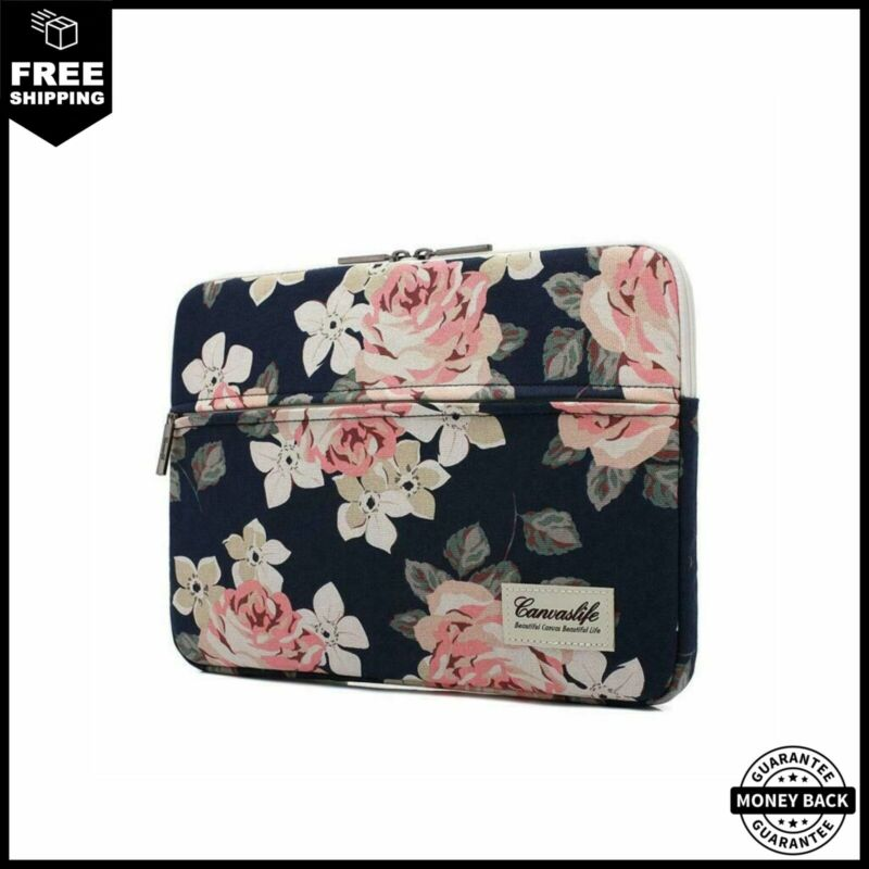 canvaslife White Rose Pattern 13/14/15 inch Canvas Laptop Sl