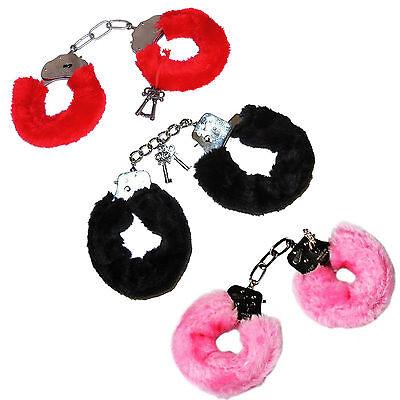 FURRY FLUFFY HANDCUFFS RED BLACK PINK FANCY DRESS HEN NIGHT STAG DO PLAY (Pink Furry Kostüm)