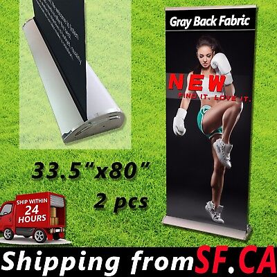 2 Pcs33.5 X 80 In Premium Retractable Roll Up Trade Show Display Banner Stand