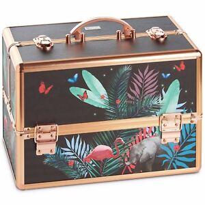 Beautify Large Beauty Case Box Vanity Make Up Lock & Key Storage - Jungle Design
