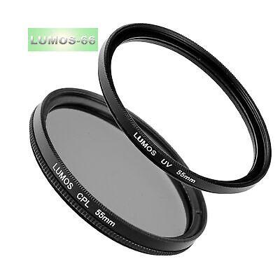 55mm Polfilter CPL & UV Filter Set für Kamera Objektiv mit 55 mm Filtergewinde