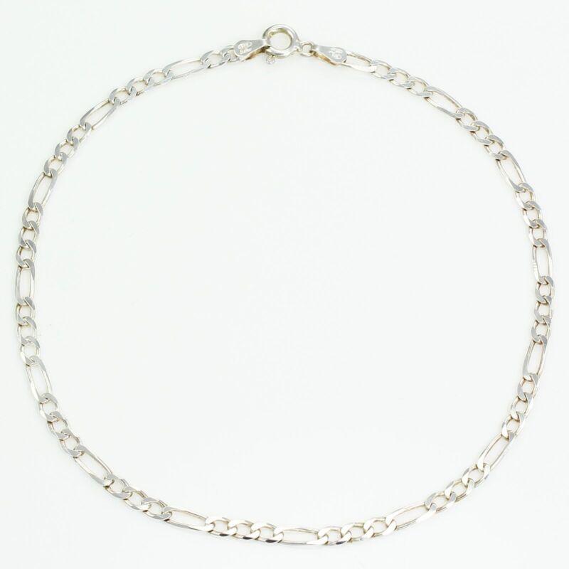 Sterling Silver Figaro Chain Anklet 9 inch 3.46 gram 3.15 mm Italy Milor ESTATE