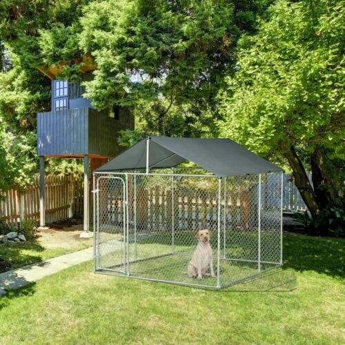 10x10FT Outdoor Pet Dog Run House Kennel Shade Cage Enclosure w/ Cover Playpen