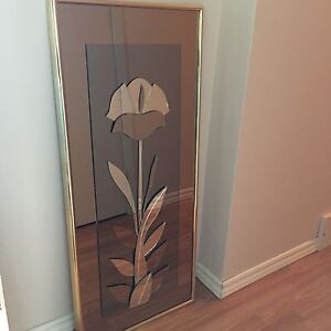 Multi toned glass mirror with flower overlay