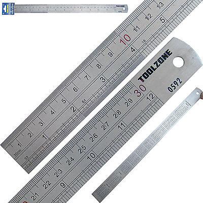 """Stainless Steel Metal Rule metric & imperial 12"""" 30cm 300mm long Engineers Ruler"""