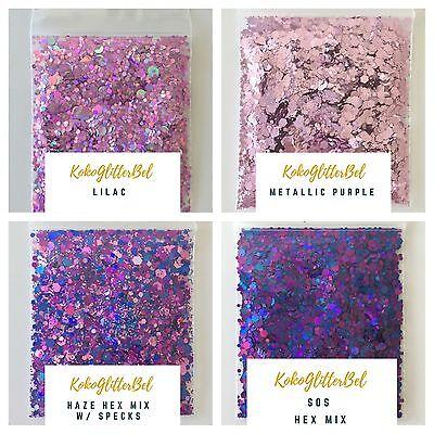 Holo Purple Glitter Hex Mix   1 Tsp   Holographic Acrylic Gel Nail Art Sparkles
