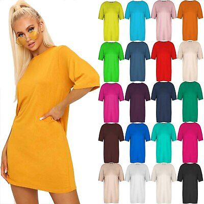 Womens Ladies Short Sleeve Baggy Oversized Tunic Loose Fit Mini Pj T Shirt Dress