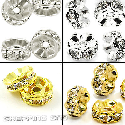 rondelle spacer charm metal bead czech crystal
