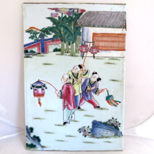 "14.8"" Antique ? Chinese Painted Famille Rose Porcelain Tile Plaque w/ 3 Children"