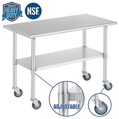 Food Prep Work Table For Kitchen Restaurant W 4 Wheels 24x48 Stainless Steel