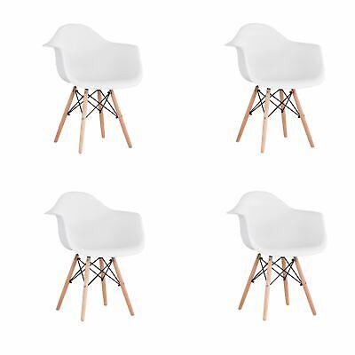 armlehnen Holzbeinen für Esszimmer Metallrahmen  Weiß (4-er Set)