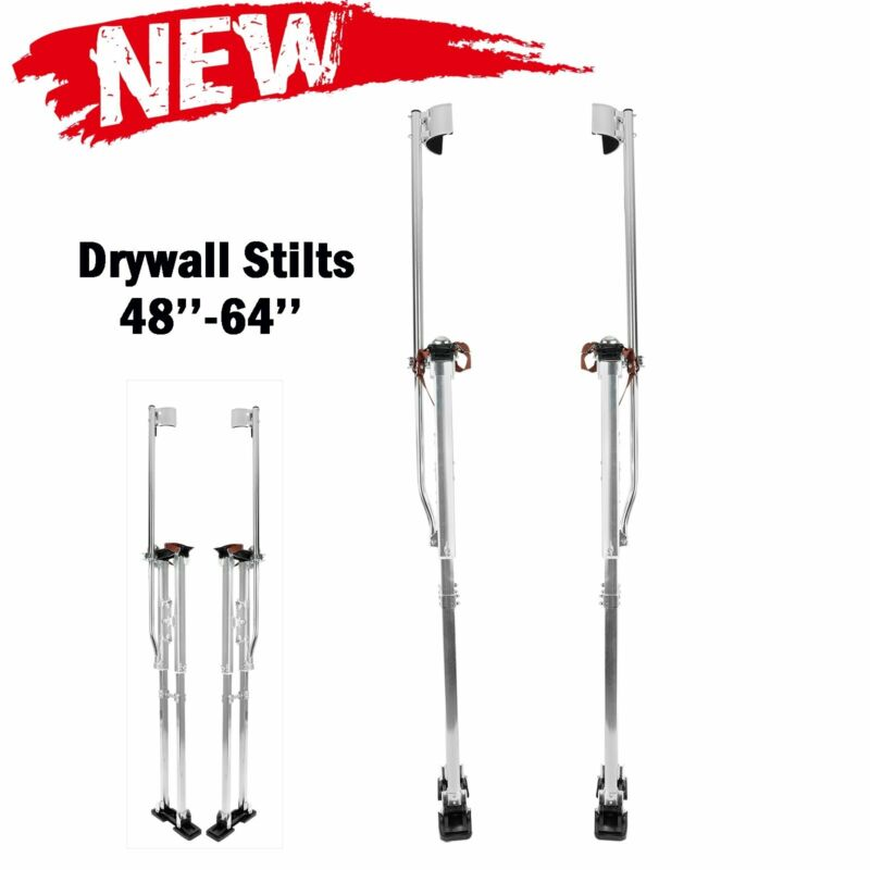 "48""-64"" Adjustable Drywall Stilts Painters Walking Taping Finishing Tools Sliver"