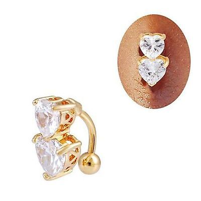 Gold Plated Clear CZ Gem Double Heart Dangle Belly Navel Ring Body Jewelry