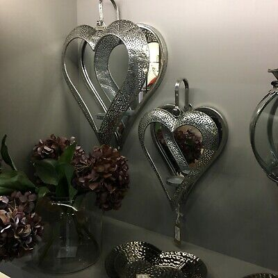Ornate Metal Antique Silver Heart Wall Mirror Tea Light Holder Sconce Two Sizes ()