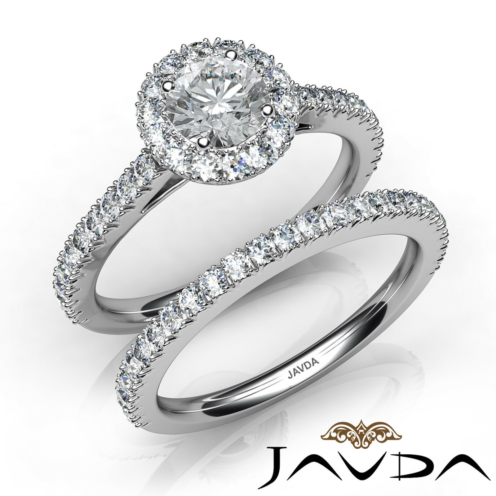 French Pave Round Diamond Bridal Engagement Ring GIA E VS1 14k White Gold 2ct