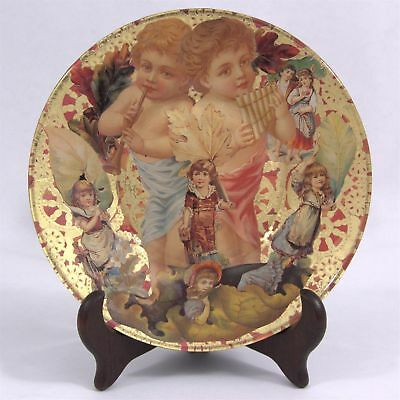 VICTORIAN Children Leaf Flute DECOUPAGE ART PLATE Hand Made One Of A Kind