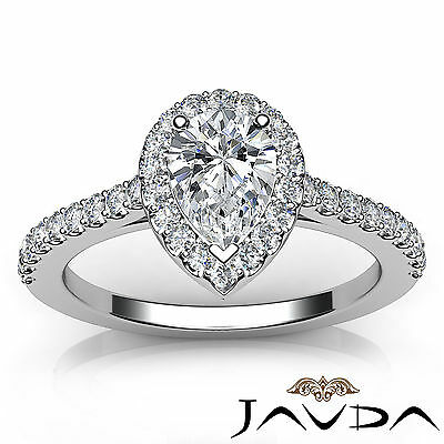 Halo French U Pave Pear Natural Diamond Engagement Ring GIA Certified G VVS2 1Ct 3