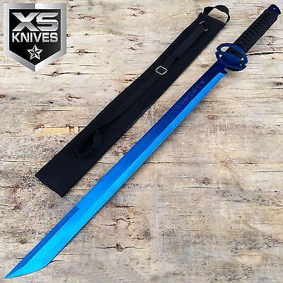 "26"" Blue NINJA Full Tang FIXED BLADE Sword Tactical MACHETE Laser Tanto + Sheath"