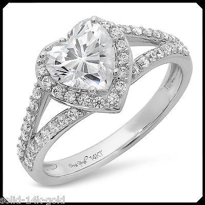 Linda 1.70CT HEART cut Diamond VVS1 Solid 14K White GOLD Engagement Wedding Ring