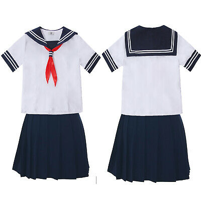 Japanese High School Girls Sailor Uniform Dress Shirt Skirt Set Cosplay Costume](School Girls Costumes)