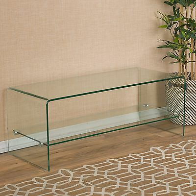 مكتبة تلفزيون جديد Contemporary Glass Entertainment TV Console Stand with Shelf