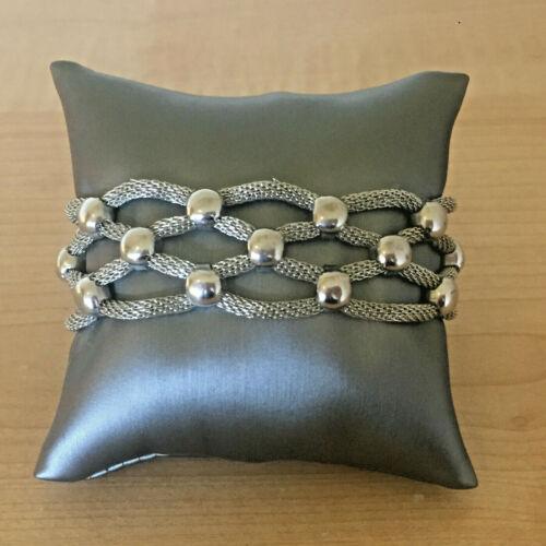 Vintage Woven Silver Tone Mesh Bracelet