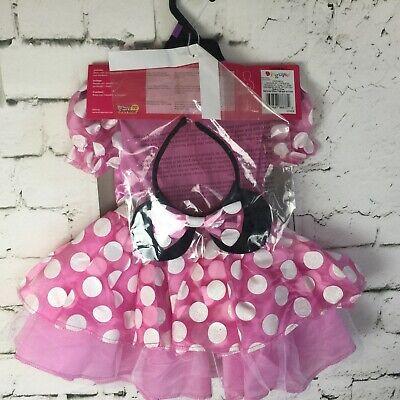 Disney Jr 2T MINNIE MOUSE Pink Sparkle Dress/Ears Headband Halloween Costume