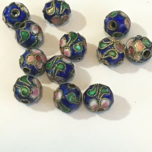 """VINTAGE CLOISONNE LOOSE COLBALT BEADS 12  1/4"""" CRAFTS JEWELRY"""