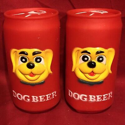 2 Squeaky Dog Toys Beer Bottle Can Novelty Paw Print Xmas Party Birthday Present