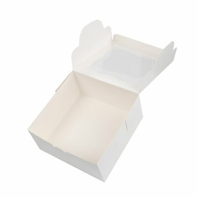 Spec101 Square Cake Boxes With Stickers - 24pk White Cake Boxes 10x10x5 Inch