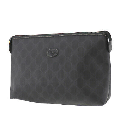GUCCI GG Plus Clutch Pouch Black PVC Leather Italy Vintage Authentic #UU149 O