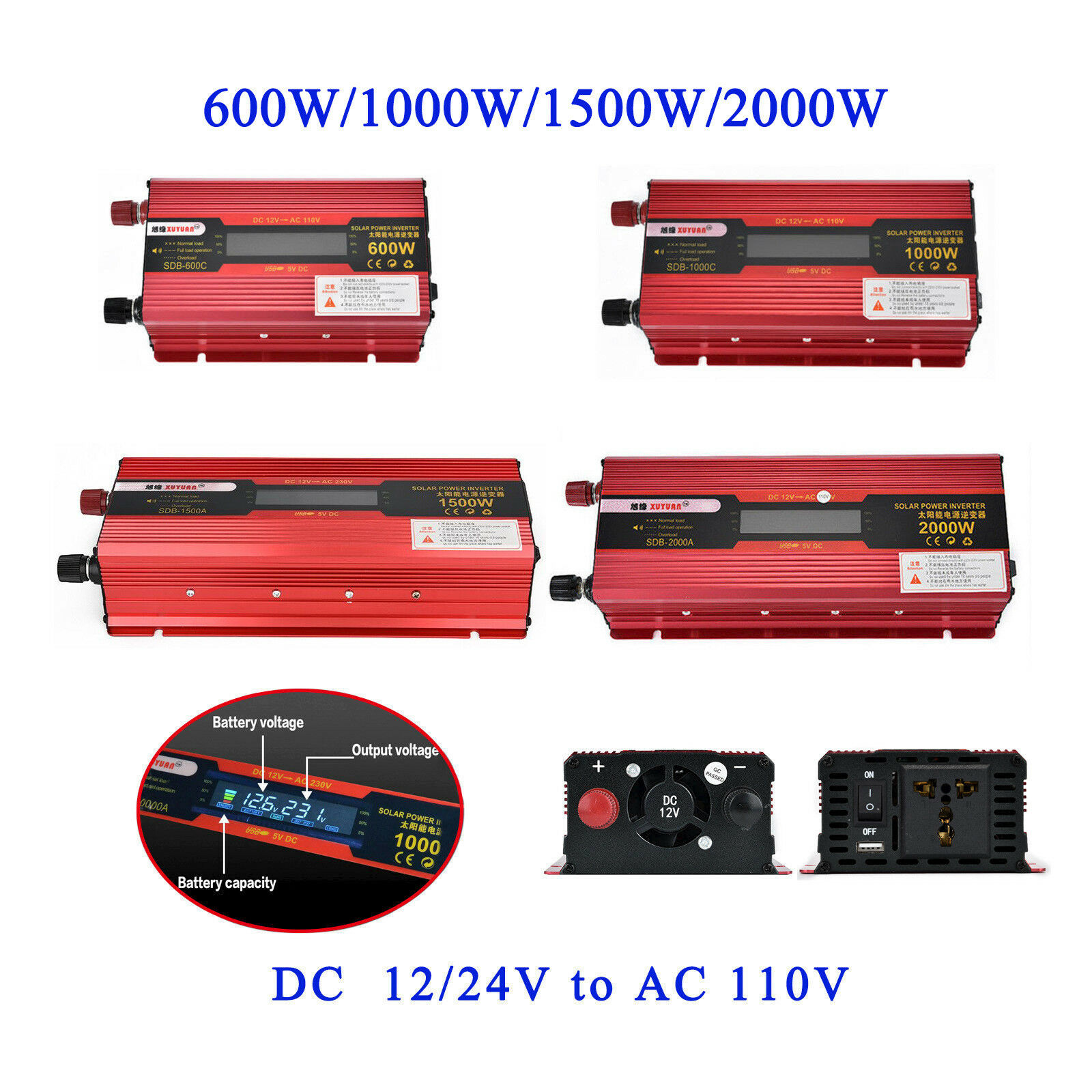 Universal Plug US Car LED Power Inverter WATT DC 12V/24V to AC 110V Charger Conv