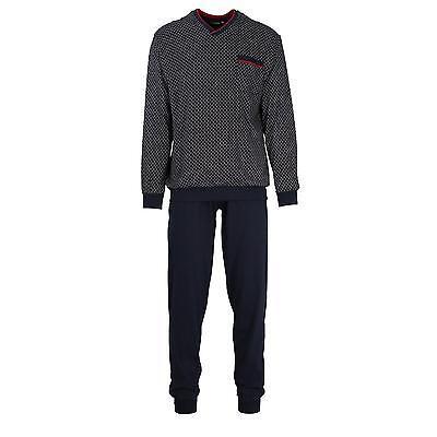 Navy Baumwolle Pyjama (Götzburg Pyjama Schlafanzug lang  Gr. 60  navy  Bündchen Baumwolle V-Ausschnitt)