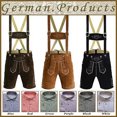 German Bavarian Trachten Authentic Oktoberfest Men Short Lederhosen Pack Black