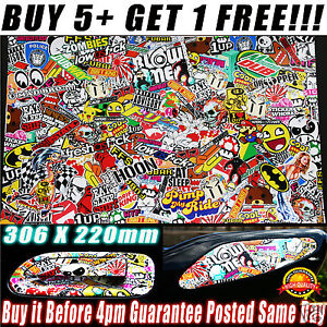 Sticker-Bomb-Sheet-A4-Size-Stickerbomb-Suit-HOON-JDM-Car-Wrap-Skateboard-Scooter