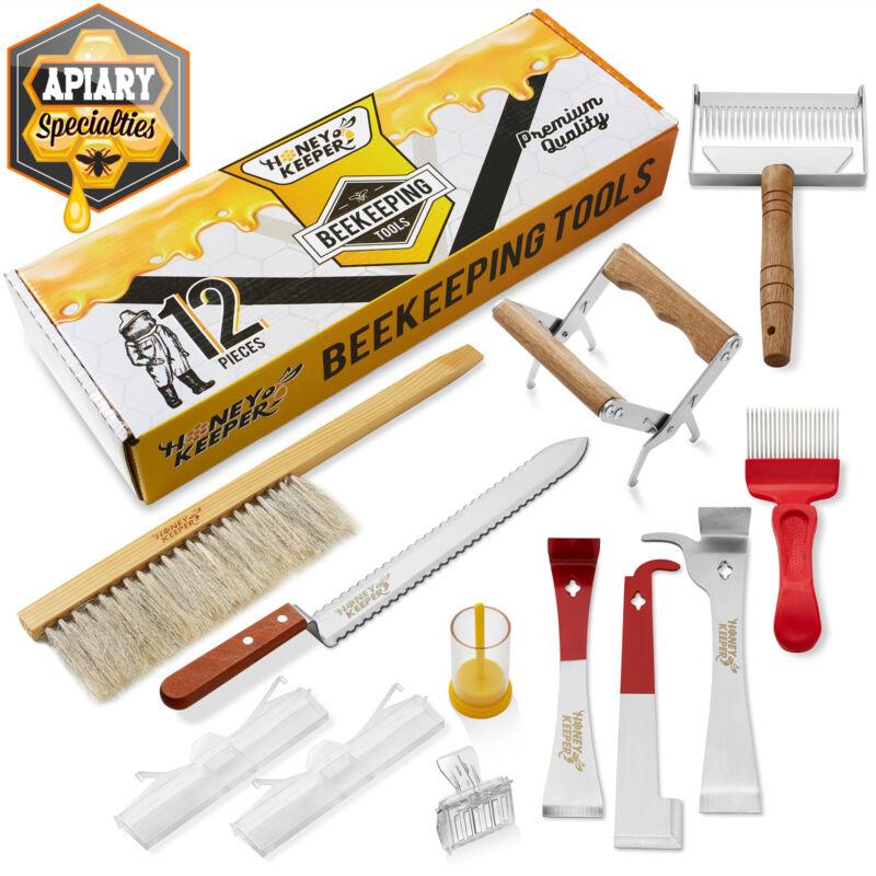 12 PC Beekeeping Tool Kit - Bee Brush Cage Frame Grip Beekeeper Starter Supplies