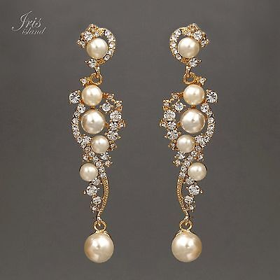 18K Gold Plated GP Clear Crystal Pearl Wedding Bridal Drop Dangle Earrings 00871