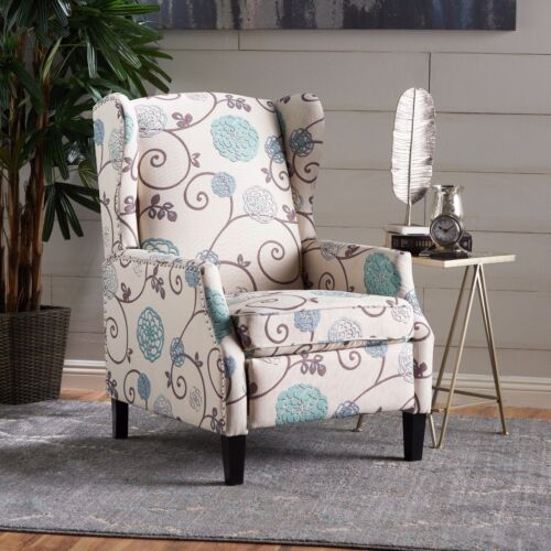 Westeros Traditional Wingback Fabric Recliner Chair Chairs