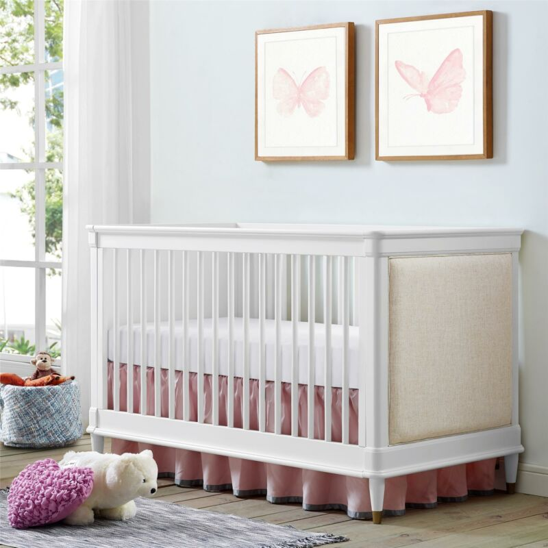 Bertini Marquette 3-in-1 Upholstered Convertible Crib, White